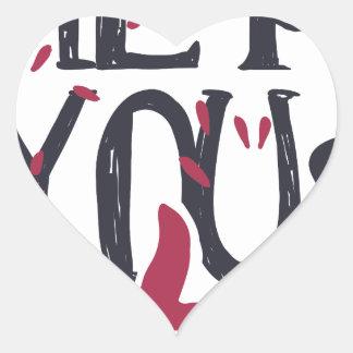 Adesivo Coração Hey você eu te amo