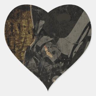 Adesivo Coração Homem com máscara protetora na placa de metal