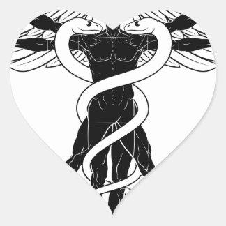 Adesivo Coração Homem de Vitruvian do Caduceus
