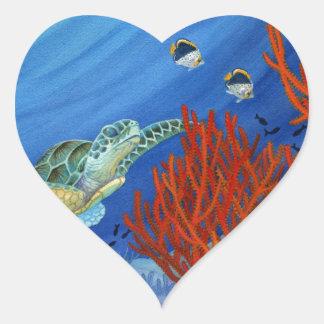 Adesivo Coração Honu e coral preto