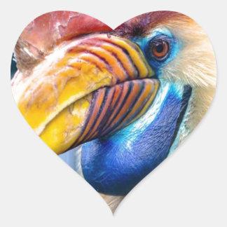Adesivo Coração Hornbill vermelho e amarelo