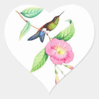 Adesivo Coração Humingbird e Hybiscus