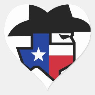 Adesivo Coração Ícone da bandeira de Texas do bandido