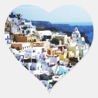 Adesivo Coração Ilha de Santorini na FOTO da piscina