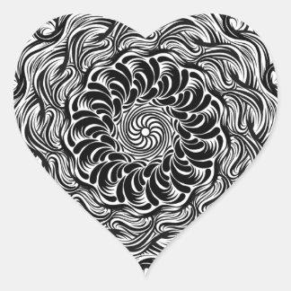Adesivo Coração Ilusão óptica do Doodle ornamentado do zen preto e