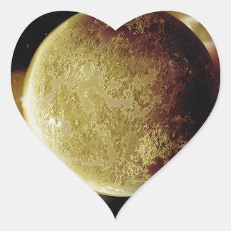 Adesivo Coração ilustração amarela do planeta 3d no universo