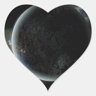 Adesivo Coração ilustração preta do planeta 3d no universo