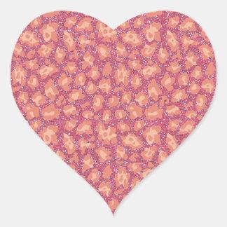 Adesivo Coração Impressão cor-de-rosa da chita do brilho