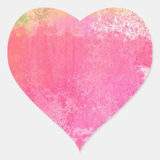 Adesivo Coração Impressão da aguarela do Grunge da arte abstracta