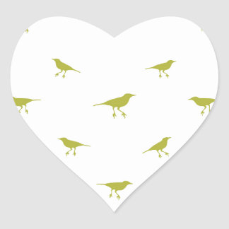 Adesivo Coração Impressão da silhueta dos pássaros