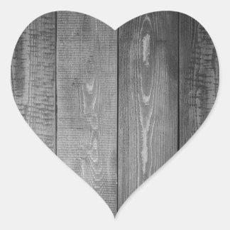 Adesivo Coração Impressão de madeira preto e branco