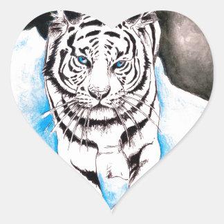 Adesivo Coração Inverno branco do tigre Siberian