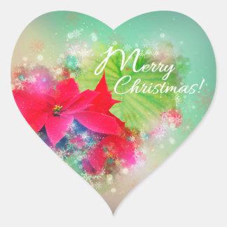 Adesivo Coração Inverno rose flower, poinsettia. Merry Christmas