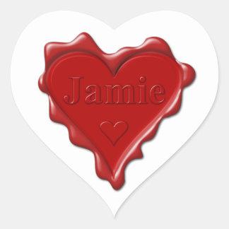 Adesivo Coração Jamie. Selo vermelho da cera do coração com Jamie