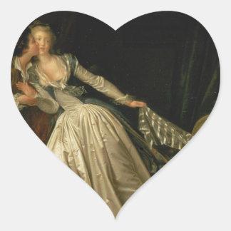 Adesivo Coração Jean-Honore Fragonard - o beijo roubado - belas
