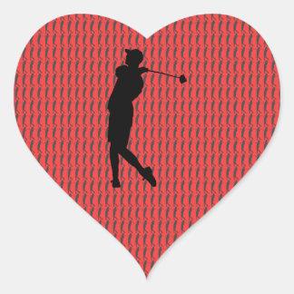 Adesivo Coração Jogador de golfe