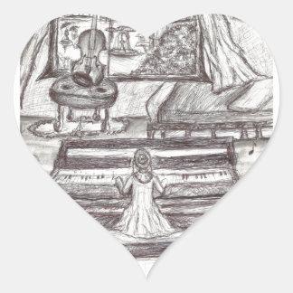 Adesivo Coração Jogando o piano em um dia chuvoso