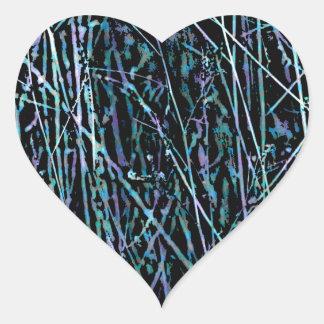Adesivo Coração Juncos multicoloridos em azul e em roxo