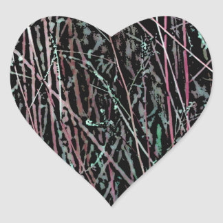 Adesivo Coração Juncos multicoloridos no rosa e no verde