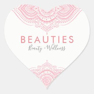 Adesivo Coração Laço ornamentado cor-de-rosa elegante de Paisley