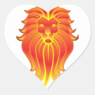 Adesivo Coração Leão customizável do zodíaco de Leo do fogo