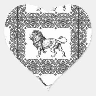Adesivo Coração leão encaixotado em um quadro
