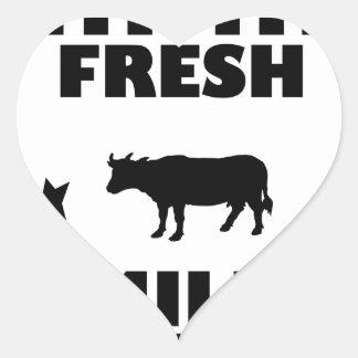 Adesivo Coração Leite de vaca fresco da leiteria