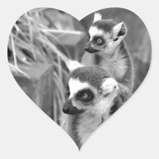 Adesivo Coração lemur Anel-atado com o bebê preto e branco