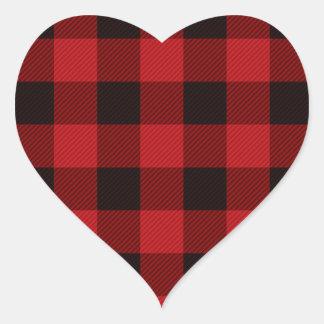 Adesivo Coração Lenhador vermelho da xadrez do búfalo da casa de