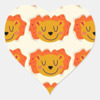 Adesivo Coração Leões bonitos no ouro