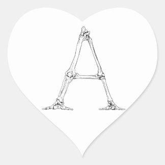 Adesivo Coração Letra do osso - A