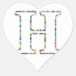 Adesivo Coração Letra H da estrela do arco-íris