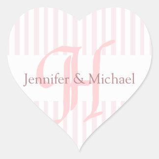Adesivo Coração Letra H do monograma dos noivos dos corações do