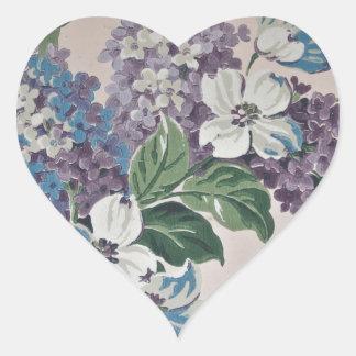 Adesivo Coração Lilacs no papel de parede do vintage