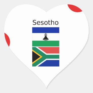 Adesivo Coração Língua de Sesotho e bandeiras de Lesotho/África do