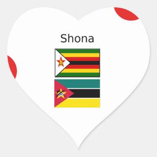 Adesivo Coração Língua de Shona e bandeiras de Zimbabwe e de