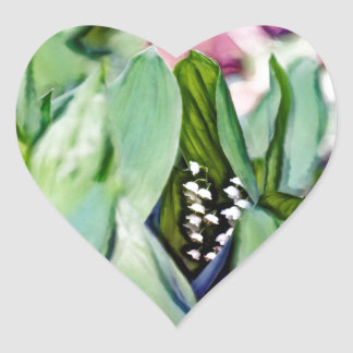 Adesivo Coração Lírio das flores do vale escondidas nas folhas