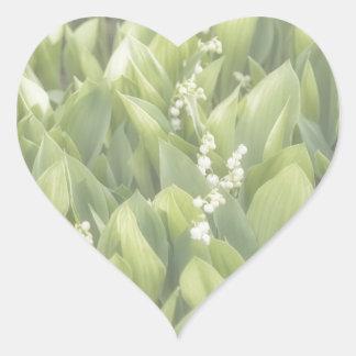 Adesivo Coração Lírio do remendo da flor do vale na névoa