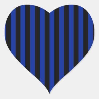 Adesivo Coração Listras finas - pretas e azul imperial