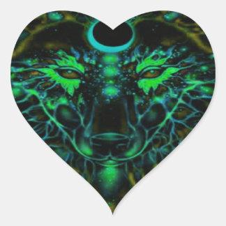Adesivo Coração Lobo amarelo de néon Mythical
