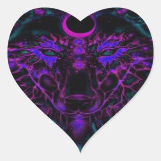 Adesivo Coração Lobo de néon Mythical da cerceta