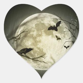 Adesivo Coração Lua do Dia das Bruxas - ilustração da Lua cheia