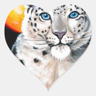 Adesivo Coração Lua do leopardo de neve