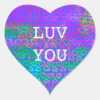 Adesivo Coração Luv você teste padrão dos corações