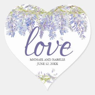 Adesivo Coração Luz - amor floral do coração da aguarela roxa
