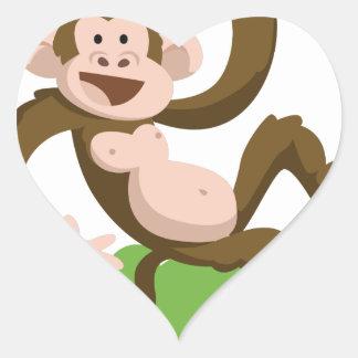 Adesivo Coração macaco da dança