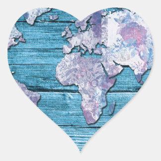 Adesivo Coração madeira 15 do mapa do mundo