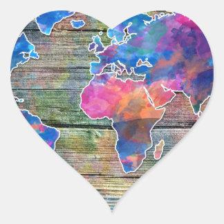 Adesivo Coração madeira 1 do mapa do mundo