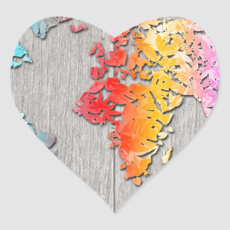 Adesivo Coração madeira 7 do mapa do mundo