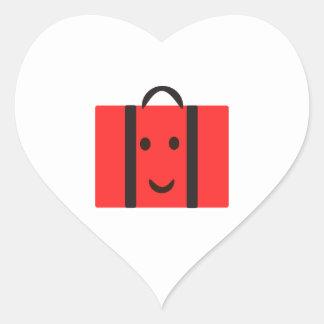 Adesivo Coração mala de viagem vermelha feliz